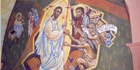 Fresque de la Résurrection peinte par Nicolaï Greschny (1912-1985). Elle se situe autour de baptistère de l'église Saint-Thomas-de-Cantorbury à Cahuzac-sur-Vère (81)