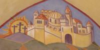 Jérusalem céleste : étail de la fresque de la Résurrection peinte par Nicolaï Greschny (1912-1985). Elle se situe autour de baptistère de l'église Saint-Thomas-de-Cantorbury à Cahuzac-sur-Vère (81)