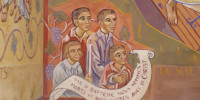 Enfants :  détail de la fresque de la Résurrection peinte par Nicolaï Greschny (1912-1985). Elle se situe autour de baptistère de l'église Saint-Thomas-de-Cantorbury à Cahuzac-sur-Vère (81)
