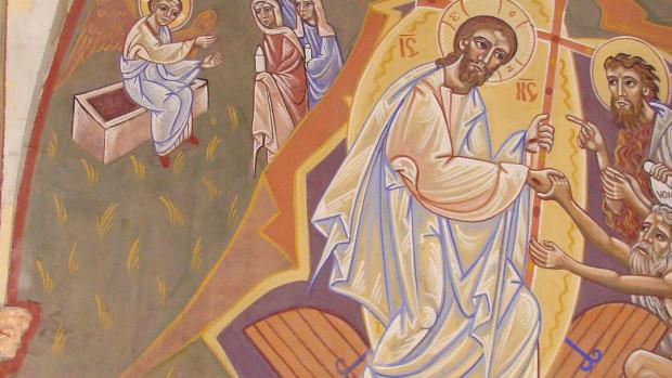 Détail de la fresque de la Résurrection peinte par Nicolaï Greschny (1912-1985). Elle se situe autour de baptistère de l'église Saint-Thomas-de-Cantorbury à Cahuzac-sur-Vère (81)