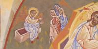 Myrrophores : détail de la fresque de la Résurrection peinte par Nicolaï Greschny (1912-1985). Elle se situe autour de baptistère de l'église Saint-Thomas-de-Cantorbury à Cahuzac-sur-Vère (81)