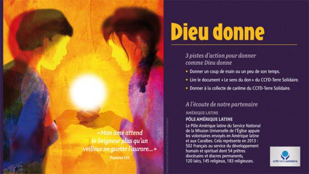 « Mon âme attend le Seigneur plus qu'un veilleur ne guette l'aurore… » (Psaume 129). Carte de la 5ème semaine vers Pâques, Chemine de Carême 2014 du CCFD.