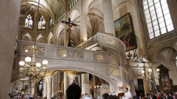 09 septembre 2007: Messe célébrée en l'honneur du 10ème anniversaire de la béatification de Frédéric Ozanam, présidée par Mgr André VINGT-TROIS, archevêque de Paris, Saint Etienne du Mont, Paris (75), France.