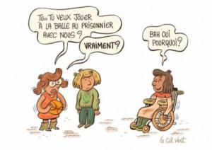Illustration autour du handicap et à l'inclusion, signée Le Cil Vert.