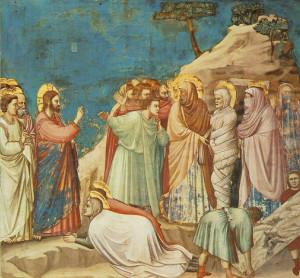 Résurrection de Lazare, Giotto di Bondone (1306), fresque de La Chapelle des Scrovegni de Padoue, en Italie.