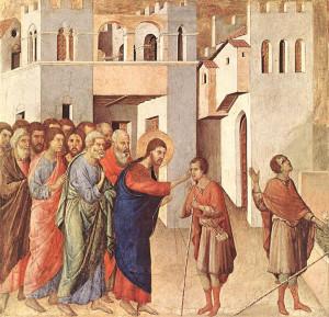 La guérison de l'homme aveugle, (1308-11), Duccio di Buoninsegna, National Gallery, London