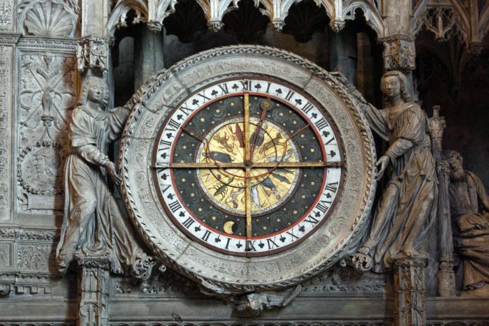 Horloge astronomique réalisée entre 1525 et 1528, cathédrale de Chartres (28), Centre, France.