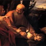 Le Sacrifice d'Isaac, huile sur toile du Caravage vers  1603, Galerie des Offices, Florence.