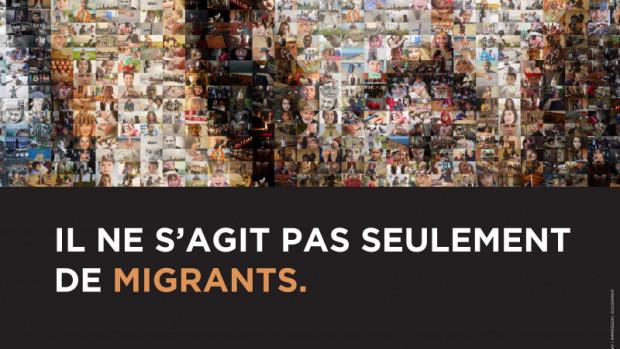 « Il ne s'agit pas seulement de migrants », affiche de la 105ème Journée Mondiale du Migrant et du Réfugié en 2019.