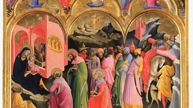 L'adoration des mages de Lorenzo Monaco, tempera sur bois, 1422.