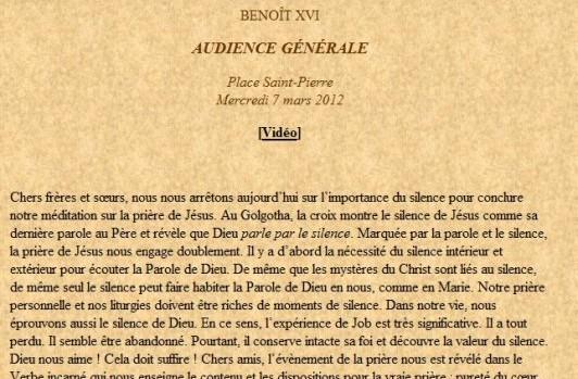 Audience générale Benoit XVI