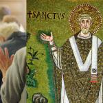 A g. : Prière du Notre Père lors de la célébration eucharistique. A d. : Mosaïque byzantine du 6ème siècle en la Basilique Saint-Apollinaire-le-Neuf, représentant l'évêque Apollinaire, en « orant ».