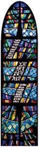 Vitrail Arbre de vie, Matins d'Evangile, Rencontre avec Jésus le Christ Chapelle de Beauregard (Lozère)