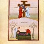 """Enluminure dite """"La descente de croix et la mise au tombeau"""", dans l'évangéliaire d'Egbert."""
