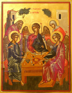 La philoxénie (qui signifie hospitalité) d'Abraham, icône, église de Saint Ignatius, San Francisco, California, USA.