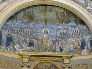 Mosaïque d'abside de l'église Sainte Pudentienne à Rome.