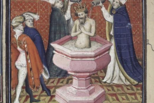 Onction de David, Bible historiale, XIVe siècle.