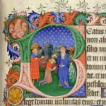 """L'onction de David par Samuel. Enluminure sur parchemin d'une initiale """"B"""" montrant Samuel oignant David auprès de Jessé. Psautier et livre d'heures de Bedford, daté de 1414 à 1422. Détenue et digitalisée par la British Library."""