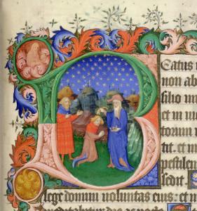 """L'onction de David par Samuel. Enluminure sur parchemin d'une initiale """"B"""" montrant Samuel oignant David près de Jessé. Psautier et livre d'heures de Bedford, daté de 1414 à 1422. Détenue et digitalisée par la British Library."""