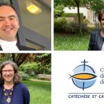 P. Christophe Spérissen, Isabelle Perrier et Cécile Eon, nouveaux arrivants du Service national de la catéchèse et du catéchuménat, en septembre 2019.