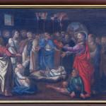 Église protestante Saint Matthieu, ancien couvent des franciscains de Colmar (Haut-Rhin). Peintures décorant la balustrade et la tribune  :  Guérison d'un paralytique, Jean-Baptiste Wulcken (1708-1709).