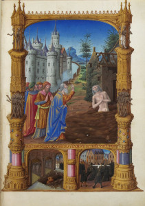 Job, sa femme et ses amis. Les Très Riches Heures du duc de Berry, Folio 82r, Musée Condé, Chantilly.