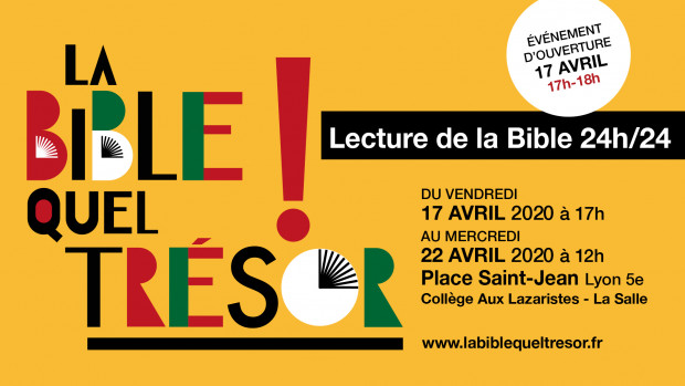 Affiche aux couleurs l'événement « La Bible quel trésor ! », prévu en avril 2020 à Lyon.