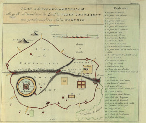 Plan de la ville de Jérusalem telle qu'elle est décrite dans le Livre de Néhémie.