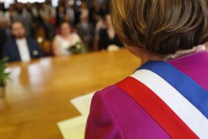 City hall. Civil wedding ceremony. France.