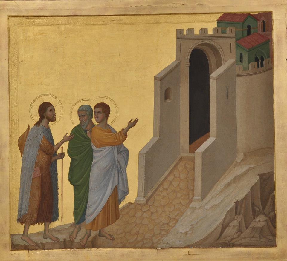 Copie de l'oeuvre La route vers Emmaüs de Duccio di Buoninsegna par Nicolas Lokhoff (1872 - 1948).