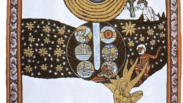 Une enluminure médiévale représentant une des 26 visions décrites par sainte Hildegarde de Bingen dans le Scivias (1151).