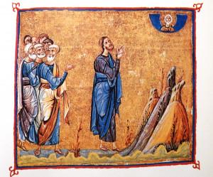 Miniature du monastère de Dyonysiou, sur le Mont Athos, vers 1059.