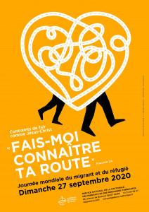 « Contraints de fuir comme Jésus-Christ », affiche de la 106ème Journée Mondiale du Migrant et du Réfugié en septembre 2020.