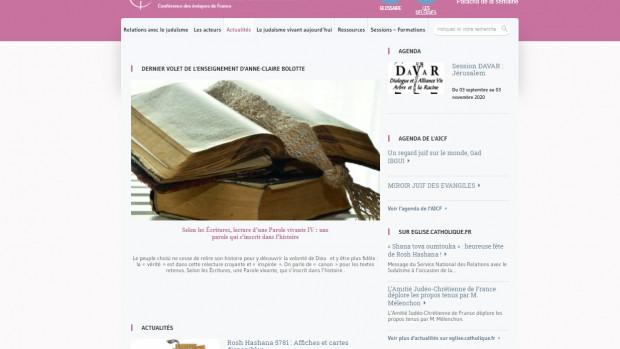 Une du site Relations avec le judaïsme, au mois d'octobre 2020.