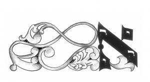 Chaque newsletter est illustrée par ce motif réalisé par le peintre Pierre Relkin. L'image s'organise autour de la lettre Aleph, première lettre de l'alphabet hébraïque, accompagnée à sa gauche d'un motif ornemental.