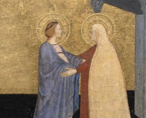 Visitation de la Vierge, tableau de maître, Italie centrale. Détail.