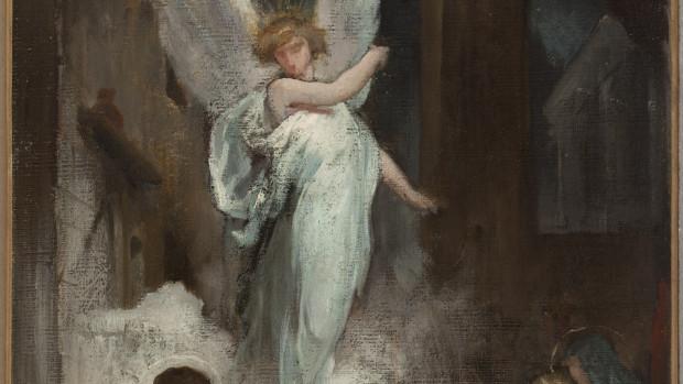"""Eugène Romain Thirion (1839-1910). """"Esquisse pour l'église de la Trinité : Le songe de Saint-Joseph"""". Huile sur toile. 1870-1870. Musée des Beaux-Arts de la Ville de Paris, Petit Palais."""