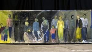 """©""""La rue"""" de Anne Courbaud, octobre 2007, 600x200cm, acrylique sur toile ; photo de Norbert Pousseur"""