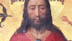 """Le Christ, représenté """"en majesté"""". Détail du polyptyque du Jugement dernier, Rogier van der Weyden. Hôtel-Dieu de Beaune (21)."""